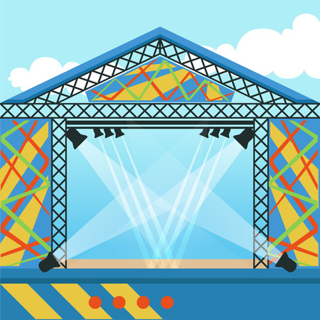 Stage for open air festival, music event or rock concert. Scene equipped with lights. Background for fest or event invitation. Cartoon flat vector illustration
