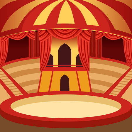 Amazing circus arena cartoon design. Classic amusement performance stage with yellow and red striped dome, sits and curtains, velvet drapery. Background for poster or invitation.