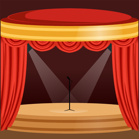 Theater or music concert scene with red curtain, lights and microphone stand in the center. Wooden stage with drapery and pelmets. Flat cartoon vector