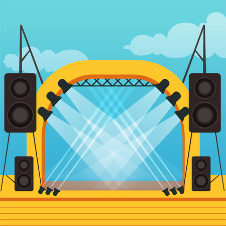 Empty stage for open air festival or music concert. Outdoor scene with professional lighting and sound equipment. Colorful cartoon flat vector