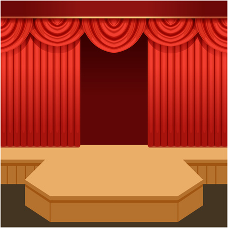Open theaterscène met rood gordijn en manierpodium. Houten showpodium met scharlaken fluwelen draperie en pelmets. Vector platte cartoon afbeelding.