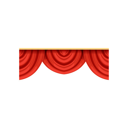 Detailed red silk or velvet pelmets for theater stage. Icon of classical scarlet drapery lambrequins for concert hall poster design. Vector isolated on white. Ilustração