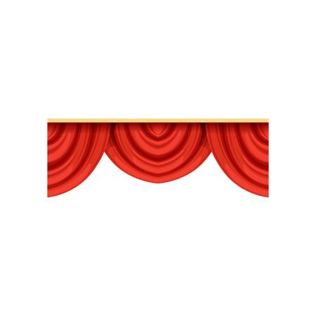 Gedetailleerde rode zijde of fluweelkaletten voor theaterstadium. Icoon van klassieke scarlet draperie lambrequins voor concert hall posterontwerp. Vector geïsoleerd op wit.