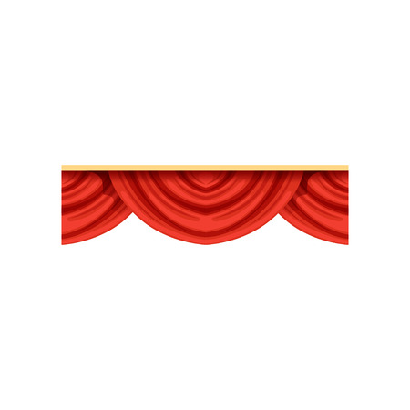 Flat cartoon design element of red pelmets border for theater stage or concert hall. Classical scarlet drapery lambrequins icon for presentation decoration. Stock Illustratie