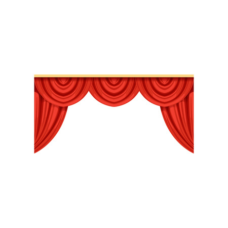 Icon of red silk or velvet curtains and pelmets for theater or circus stage. Design element for interior decoration. Flat vector isolated on white.