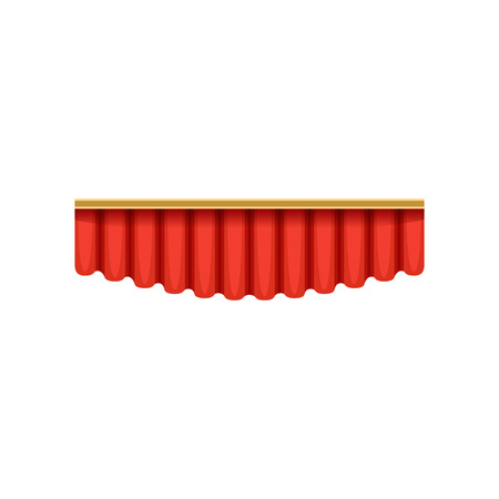 Illustration of red silk pelmets for theater, circus or concert hall stage. Cartoon classical scarlet velvet lambrequins with light and shadows. Design element for interior. Vector isolated on white.