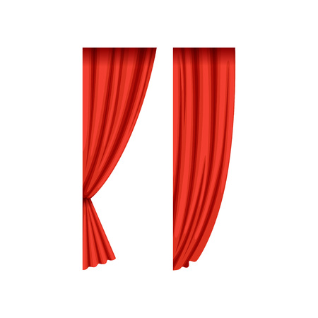 Two red silk or velvet theatrical curtains for left side of the stage. Scarlet drapery with light and shadows. Concert hall design element. Flat vector.