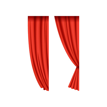 Icons of red silk or velvet theatrical curtains for right side of the stage. Cartoon luxury scarlet drapery with light and shadows. Flat vector