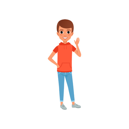 Cute boy character in stylish casual clothing hooded t-shirt with pocket and jeans. Kid posing with smiling face expression and waving hand. Cartoon flat vector