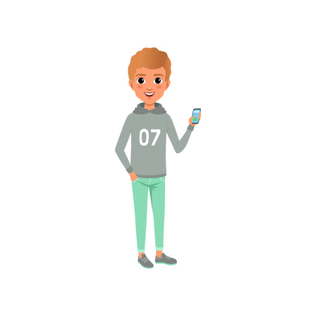 Young guy in stylish casual clothing gray hoodie with print and turquoise trousers. Cartoon boy character smiling and holding smartphone in hand. Flat vector design Illustration