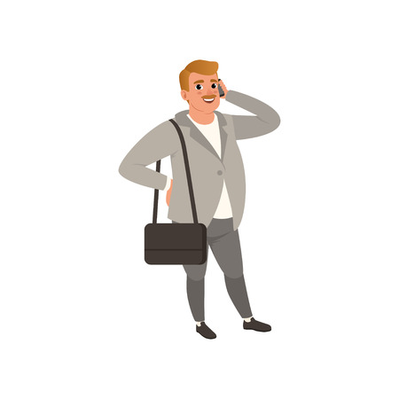 Self-confident businessman standing with bag on shoulder and talking on phone. Cartoon fat man character in stylish outfit gray cardigan, pants and white shirt. Isolated flat vector illustration. Çizim