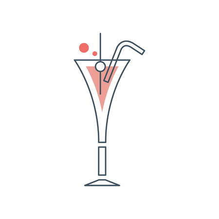 Glass of cosmopolitan cocktail with drinking straw. Alcoholic beverage with vodka. Design element for logo, invitation card or bar s poster. Icon in line style. Vector illustration isolated on white.