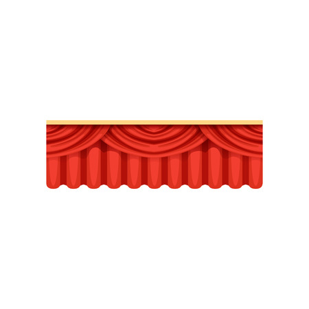 Red silk or velvet pelmets for theater stage. Cartoon classical scarlet theater drapery lambrequins with light and shadows for opera decor, presentation design Illusztráció