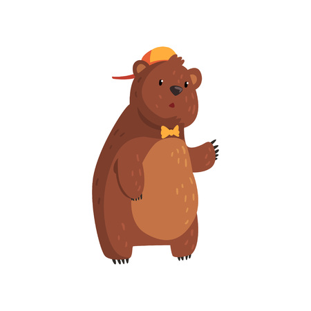 Adorable teen bear standing isolated on white background. Cartoon character with brown fur, small rounded ears and paws with claws. Concept of wild animal in orange cap and bow tie. Flat vector design