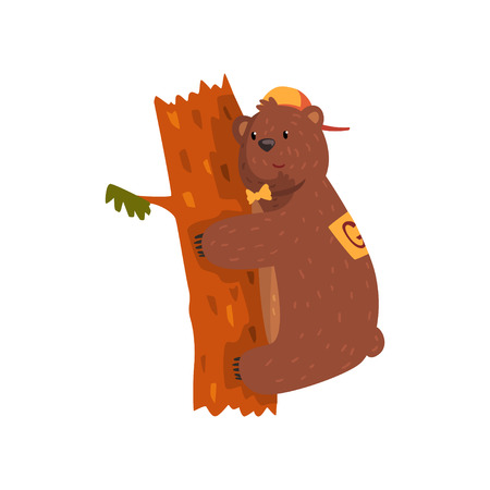 Smiling wild bear hugging tree trunk. Cartoon animal character with brown fur, small rounded ears and paws with claws. Grizzly in orange cap and bow tie. Flat vector design for sticker, postcard, book Illustration