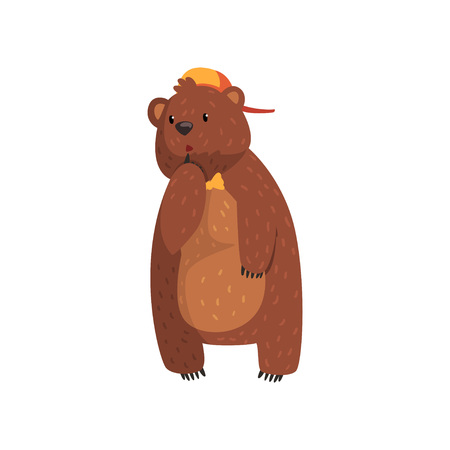 Wild bear with pensive face expression. Cartoon forest animal character in orange cap and bow tie. Grizzly with brown fur, small ears and paws with claws. Flat vector for sticker, print or poster.