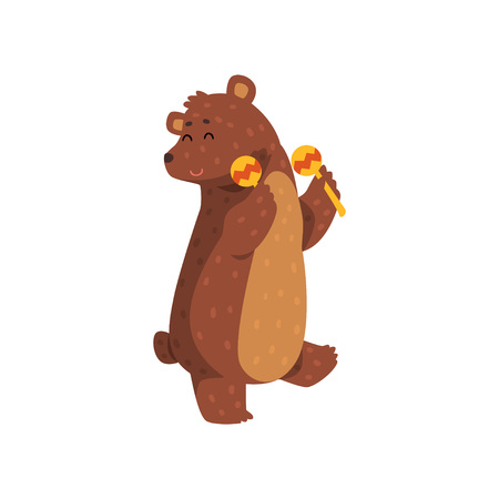 Happy brown bear dancing with maracas. Cartoon character of wild animal with short tail, small rounded ears and paws with claws. Isolated flat vector design for greeting card, sticker or children book Vettoriali