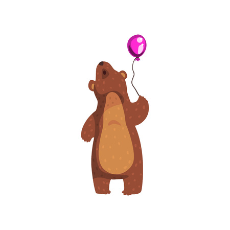 Grizzly bear standing with purple glossy balloon and looking up. Cartoon wild animal character with brown fur and small rounded ears. Isolated flat vector design for book, sticker, postcard or poster.