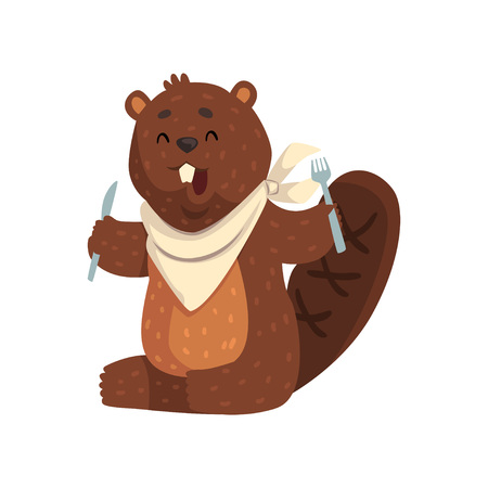 Cartoon beaver with fork and knife in paws, ready to eat. Cheerful forest rodent with big teeth, little ears and shaped tail.
