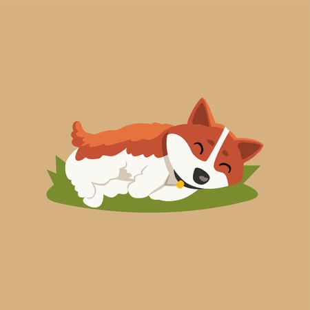 만화 빨간 머리 개 문자 녹색 잔디밭에 휴식. 일러스트