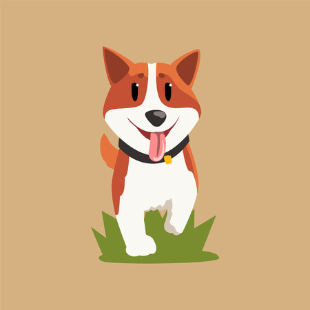 Adorable red-haired welsh corgi walking by green grass. Cartoon character of dog with happy muzzle.