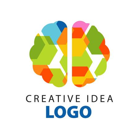 抽象的なカラフルなフラットブレイントップビューを持つ創造的なアイデアのロゴテンプレート。教育事業またはセンターラベルの開発ベクトルイ