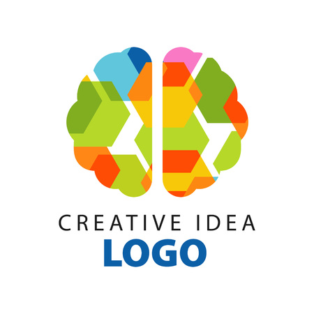 Creative idea logo template with abstract colorful flat brain top view. Education business or developing center label. Vector illustration isolated on white