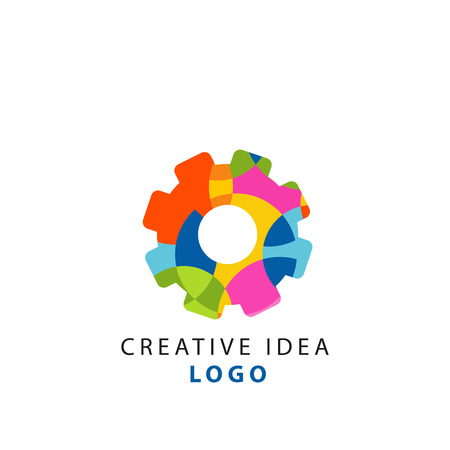 Creative idea geometric logo template with abstract colorful gear. Thinking cogwheel mechanism concept. Vector isolated on white.
