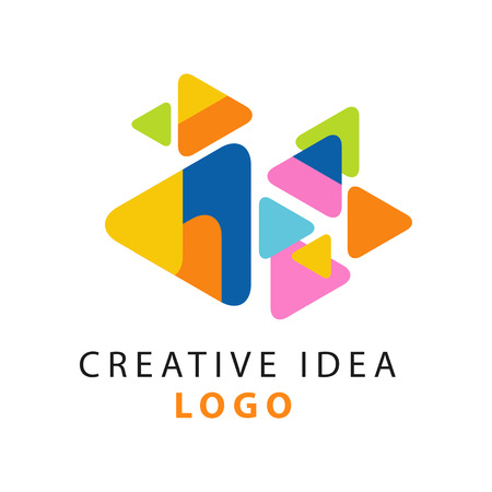 Abstract creative idea logo template. Educational business or hub emblem, children center of creativity label concept. Flat vector on white.