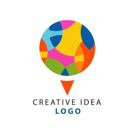 幾何学的パターンを持つ抽象的な円のロゴを持つ創造的なアイデアのロゴテンプレート。教育ビジネスやハブ、創造性の子供の中心。白の上に平ら