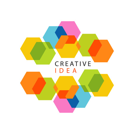 Educational center or business hub creative idea logo with abstract pattern made of hexagons. Minimalistic label design. Vector isolated on white.