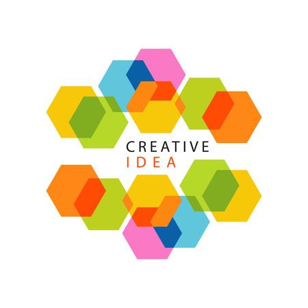 Centro educativo o logotipo de idea creativa de centro de negocios con patrón abstracto de hexágonos. Diseño de etiqueta minimalista. Vector aislado en blanco.