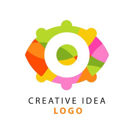 独創的なアイデアのロゴのオリジナル テンプレートの幾何学模様とカラフルな抽象的な人間の目。思考の力。ベクトル図は、白で隔離。  イラスト・ベクター素材