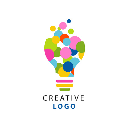 Original illustration of electric light bulb for creative idea logo. Children creativity and development center label. Flat vector isolated on white Иллюстрация