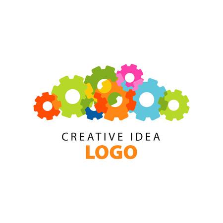 Plantilla de diseño de logotipo idea creativa con engranajes planos coloridos abstractos. Etiqueta educativa de negocios, aprendizaje y desarrollo del centro. Logos