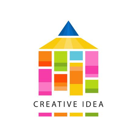 Ursprüngliche Schablone des kreativen Ideenlogos mit abstraktem Farbbleistift. Pädagogisches Geschäft, Kinderentwicklungszentrumaufkleber. Kreativitätssymbol. Flacher Vektor lokalisiert auf Weiß