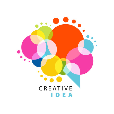 Creative idea logo template with abstract colorful speech bubble. Educational business, development center label. Power of thinking concept. Flat vector isolated on white