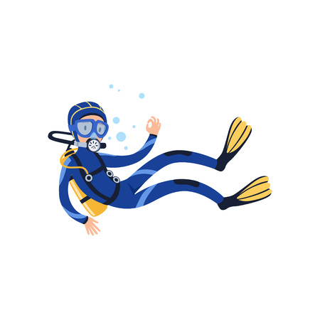 Professional diver swimming underwater and showing OK gesture. Cartoon man character in wetsuit, mask, flippers and aqualung on back. Extreme water sport. Flat vector design Illustration