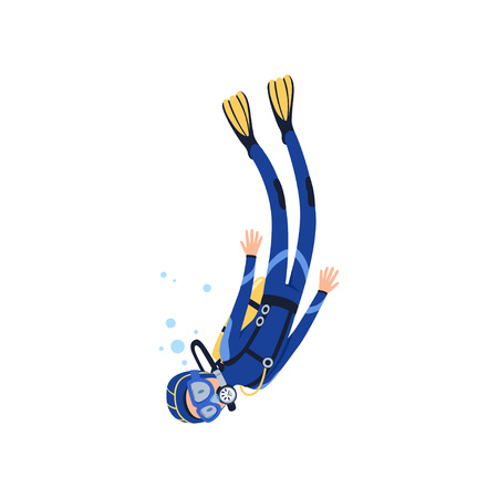 Cartoon man character engaged in scuba diving in sea. Diver in blue wetsuit, mask, flippers and equipment for breathing on back. Extreme water sport. Flat vector design Vettoriali
