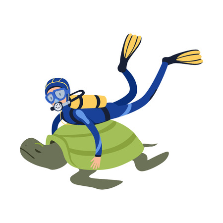 Cartoon man character swimming with giant exotic tortoise in tropical waters. Diver in wetsuit, mask, flippers and aqualung on back. Summer vacation. Flat vector design