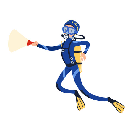 Scuba diver swimming in the ocean with flashlight in hand. Man in special diving costume, mask, flippers and equipment for breathing gas. Flat vector design Çizim