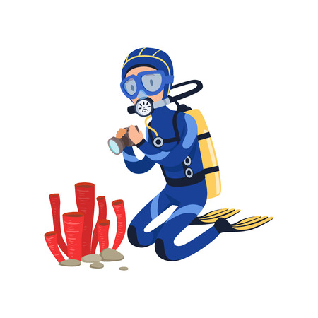 Diver at bottom of the ocean taking photos of marine plants. Cartoon man character in wetsuit, mask, flippers and aqualung on back. Colorful flat vector design