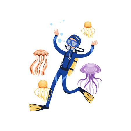 Mens die met prachtige mariene schepselen zwemt. Kleurrijke kwallen. Cartoon duiker in blauw duikpak, masker, zwemvliezen en uitrusting om op de rug te ademen. Platte vector ontwerp