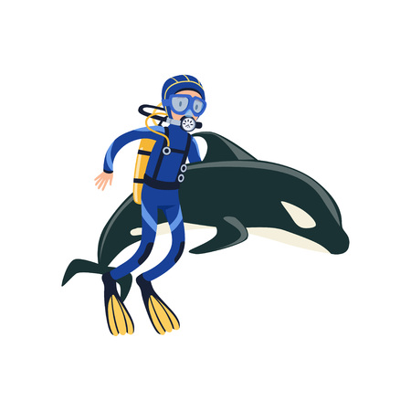 Scuba diver swimming with dolphin Active summer recreation and vacation concept. Illustration