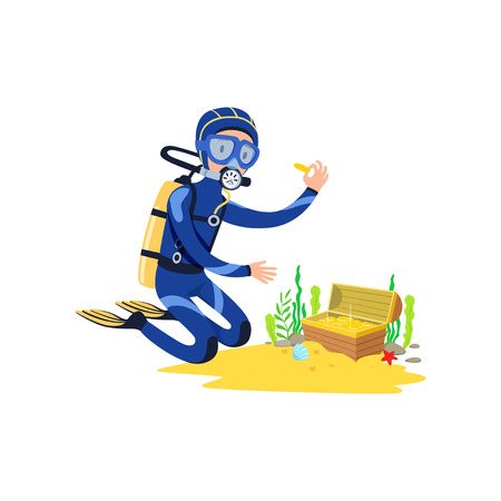 Lucky diver found treasure chest on sandy ocean floor. Cartoon man in diving suit, swimming goggles, flippers and breathing gas on back.