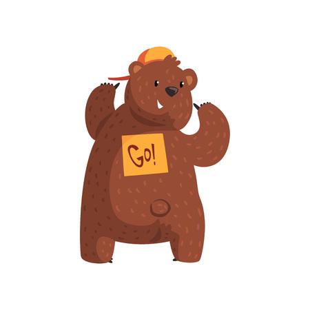 Lustiger Bär, der Aufkleber zeigt Gehen Sie auf seinen Rücken. Cartoontier mit braunem Fell, kleinen Ohren, kurzem Schwanz und Pfoten mit Krallen. Flacher Vektor für Druck, Aufkleber oder Postkarte Standard-Bild - 93075479