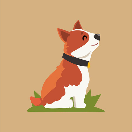 Cartoon dog character sitting on green grass in side view. Domestic animal with happy muzzle isolated vector illustration in flat style for card, book, poster or badge.