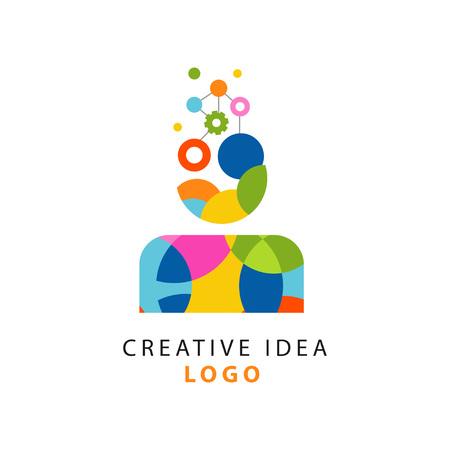 抽象的な幾何学的な創造的なアイデアや人間の思考プロセスを持つカラフルなロゴデザイン。人間の頭部のギア機構。ベクトルを白で分離