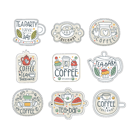 Cute hand drawn set of coffee and tea labels for street shop, cafe or bar. Take away store. Isolated line style vector with lettering. Çizim