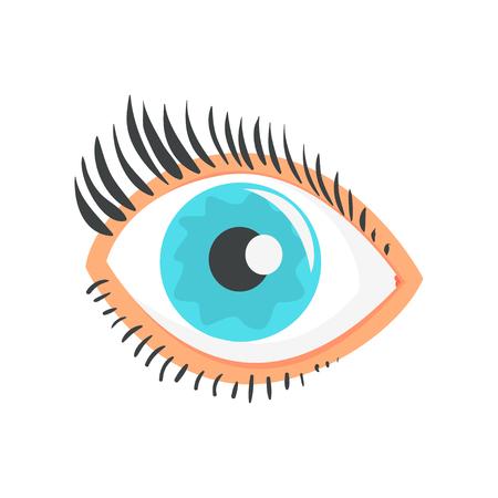 Hunman blue eye with eyelashes cartoon vector Illustration on a white background